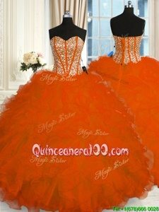Custom Fit Orange Sweetheart Lace Up Beading and Ruffles Sweet 16 Quinceanera Dress Sleeveless