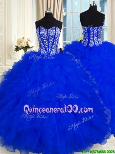 High Quality Sweetheart Sleeveless Lace Up Ball Gown Prom Dress Royal Blue Organza