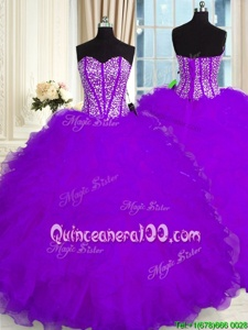 Purple Ball Gowns Organza Sweetheart Sleeveless Beading and Ruffles Floor Length Lace Up 15th Birthday Dress