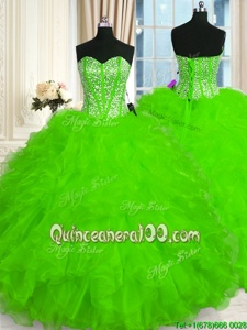 Best Spring Green Lace Up 15th Birthday Dress Beading and Ruffles Sleeveless Floor Length