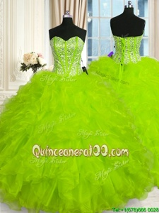 Yellow Green Ball Gowns Sweetheart Sleeveless Organza Floor Length Lace Up Beading and Ruffles Quinceanera Gowns