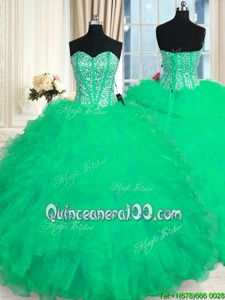 Fabulous Organza Sweetheart Sleeveless Lace Up Beading and Ruffles Sweet 16 Dresses inTurquoise