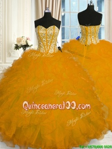 Decent Sleeveless Organza Floor Length Lace Up Quinceanera Dresses inGold forSpring and Summer and Fall and Winter withBeading and Ruffles