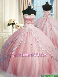 Latest Sleeveless With Train Beading and Appliques Lace Up Vestidos de Quinceanera with Pink Court Train