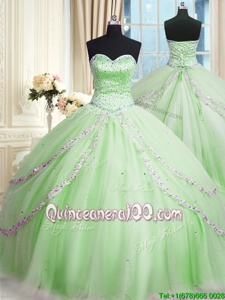 Gorgeous Apple Green Sweetheart Neckline Beading and Appliques 15 Quinceanera Dress Sleeveless Lace Up