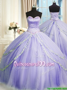 Custom Made Sleeveless Court Train Lace Up With Train Beading and Appliques Quinceanera Gowns