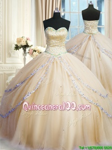Best Selling Sleeveless With Train Beading and Appliques Lace Up Vestidos de Quinceanera with Gold Court Train