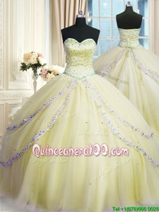 Flare Light Yellow Ball Gowns Beading and Appliques Sweet 16 Dress Lace Up Organza Sleeveless With Train