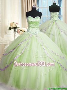 Glamorous Beading and Appliques Vestidos de Quinceanera Yellow Green Lace Up Sleeveless With Train Court Train