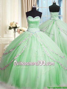 Most Popular Spring and Summer and Fall and Winter Tulle Sleeveless With Train Sweet 16 Quinceanera Dress Court Train andBeading and Appliques
