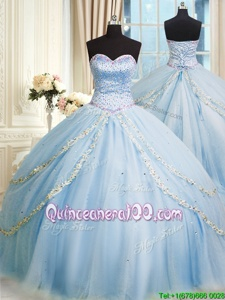 Chic Court Train Ball Gowns Sweet 16 Dress Baby Blue Sweetheart Organza Sleeveless With Train Lace Up