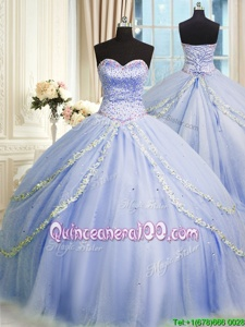 Simple Tulle Sweetheart Sleeveless Brush Train Zipper Beading and Appliques Sweet 16 Quinceanera Dress inLavender