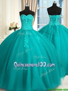 On Sale Sleeveless Appliques and Embroidery Lace Up Sweet 16 Dresses