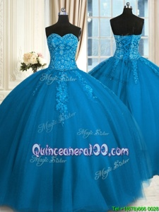 Romantic Floor Length Teal Quinceanera Gowns Sweetheart Sleeveless Lace Up