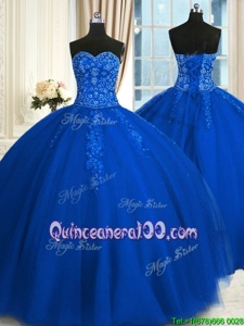 Extravagant Sweetheart Sleeveless Lace Up Quinceanera Gown Blue Tulle