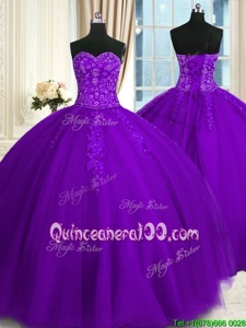 Free and Easy Sweetheart Sleeveless Lace Up Sweet 16 Quinceanera Dress Purple Tulle