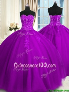 New Arrival Sweetheart Sleeveless Quinceanera Dresses Floor Length Appliques and Embroidery Purple Tulle