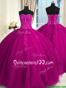 Trendy Floor Length Fuchsia 15 Quinceanera Dress Sweetheart Sleeveless Lace Up