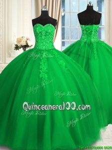 Sleeveless Appliques and Embroidery Lace Up Quinceanera Gowns