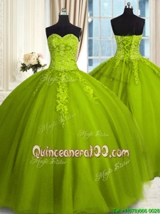 Hot Selling Olive Green Sweetheart Neckline Embroidery Quinceanera Gowns Sleeveless Lace Up