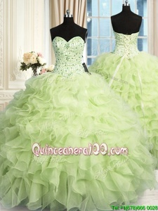 Captivating Sleeveless Organza Floor Length Lace Up 15th Birthday Dress inYellow Green forSpring and Summer and Fall and Winter withBeading and Ruffles