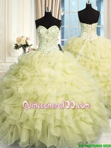 Best Selling Sleeveless Organza Floor Length Lace Up Quinceanera Dresses inYellow forSpring and Summer and Fall and Winter withBeading and Ruffles