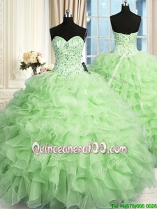 High Quality Spring Green Quince Ball Gowns Military Ball and Sweet 16 and Quinceanera and For withBeading and Ruffles Sweetheart Sleeveless Lace Up