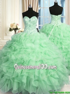 Sexy Apple Green Lace Up Sweetheart Beading and Ruffles Quinceanera Dresses Organza Sleeveless