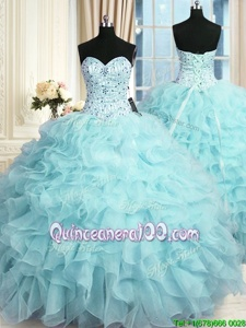 Luxury Aqua Blue Ball Gowns Beading and Ruffles Quinceanera Gowns Lace Up Organza Sleeveless Floor Length
