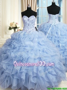 Light Blue Ball Gowns Sweetheart Sleeveless Organza Floor Length Lace Up Beading and Ruffles Quince Ball Gowns