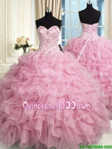 Floor Length Rose Pink Quinceanera Dresses Organza Sleeveless Spring and Summer and Fall and Winter Beading and Ruffles