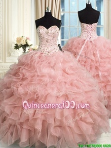 Glittering Baby Pink Ball Gowns Organza Sweetheart Sleeveless Beading and Ruffles Floor Length Lace Up Ball Gown Prom Dress