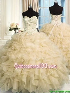Sophisticated Floor Length Lace Up Sweet 16 Quinceanera Dress Champagne and In forMilitary Ball and Sweet 16 and Quinceanera withBeading and Ruffles