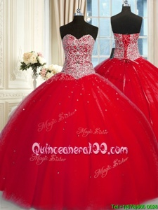 Beautiful Halter Top Sleeveless Lace Up Beading and Sequins Quinceanera Gown