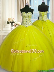 Amazing Yellow Green Sweetheart Lace Up Beading and Sequins 15 Quinceanera Dress Sleeveless