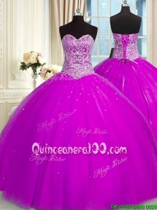 Designer Floor Length Fuchsia Ball Gown Prom Dress Organza Sleeveless Spring and Summer and Fall and Winter Beading and Sequins