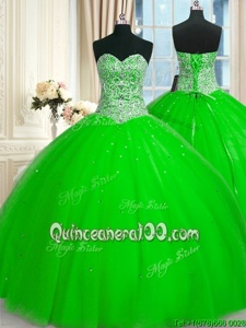 Fabulous Spring Green Lace Up Sweetheart Beading and Sequins Sweet 16 Dress Tulle Sleeveless