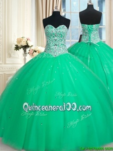 Beauteous Sequins Ball Gowns Quinceanera Gown Apple Green Sweetheart Tulle Sleeveless Floor Length Lace Up