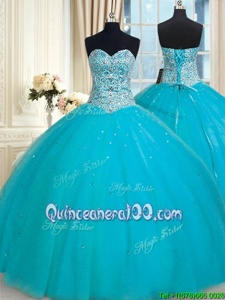 Fantastic Tulle Sweetheart Sleeveless Lace Up Beading and Sequins Quinceanera Gown inAqua Blue