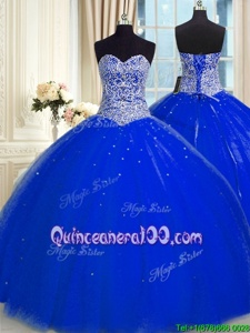 Glamorous Royal Blue Backless Quinceanera Dress Beading and Sequins Sleeveless Floor Length