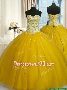 Shining Yellow Sleeveless Beading and Sequins Floor Length Sweet 16 Quinceanera Dress