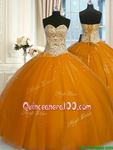 Pretty Sequins Ball Gowns Sweet 16 Dresses Gold Sweetheart Tulle Sleeveless Floor Length Lace Up