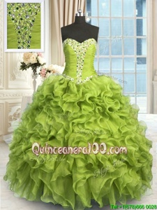 Decent Yellow Green Sleeveless Floor Length Beading and Ruffles Lace Up 15 Quinceanera Dress