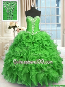 Customized Sweetheart Sleeveless Ball Gown Prom Dress Floor Length Beading and Ruffles Green Organza