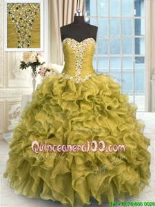 Graceful Olive Green Organza Lace Up Sweetheart Sleeveless Floor Length Vestidos de Quinceanera Beading and Ruffles