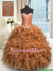 Clearance Ball Gowns Vestidos de Quinceanera Brown Sweetheart Organza Sleeveless Floor Length Lace Up