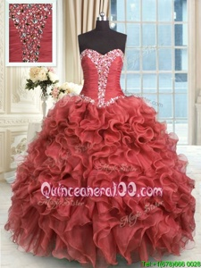 Simple Rust Red Sweetheart Lace Up Beading and Ruffles Quinceanera Dresses Sleeveless