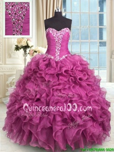 Free and Easy Sleeveless Organza Floor Length Lace Up Vestidos de Quinceanera inRose Pink forSpring and Summer and Fall and Winter withBeading and Ruffles
