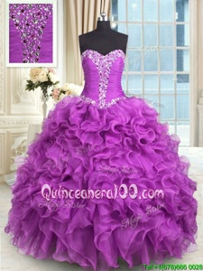 Floor Length Ball Gowns Sleeveless Purple Quinceanera Gowns Lace Up