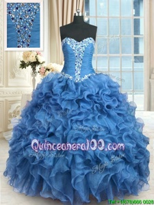 Superior Baby Blue Vestidos de Quinceanera Military Ball and Sweet 16 and Quinceanera and For withBeading and Ruffles Sweetheart Sleeveless Lace Up
